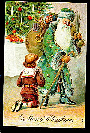 Green Coat Santa Claus With Child 1907 Postcard