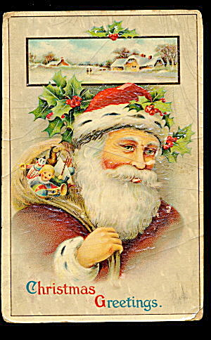 Santa Claus in Fur Hat Winsch 1912 Postcard (Image1)