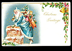Blue Coat Santa Claus Tucks With Bag 1906 Postcard