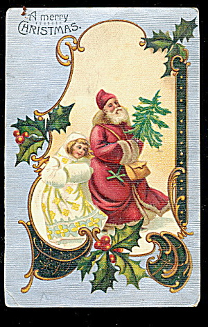 1906 Germany Father Christmas With Girl Postcard