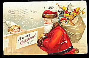 1907 Ellen Clapsaddle Santa Claus with Girl Postcard (Image1)