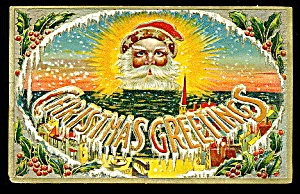 Santa Claus 'Christmas Greetings' 1907 Postcard (Image1)