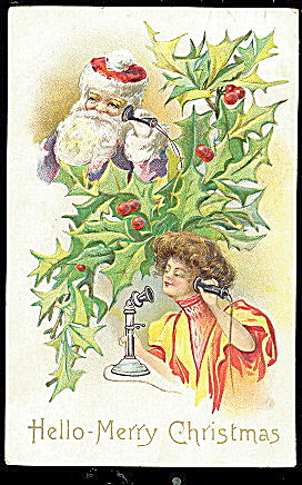 Santa Claus on Telephone with Girl 1910 Postcard (Image1)