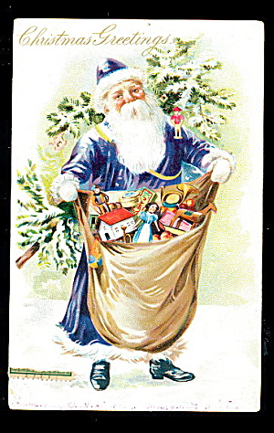 Blue Coat Santa Claus Tucks with Bag 1907 Postcard (Image1)