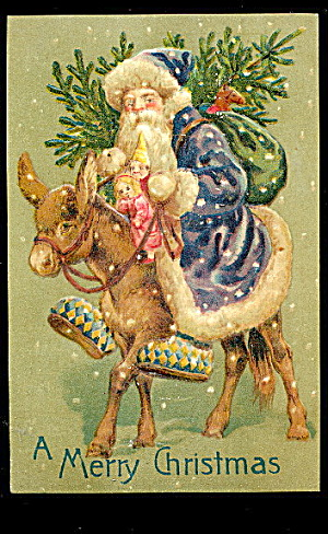 Blue Coat Santa Claus With Donkey 1907 Postcard