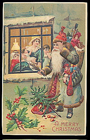 1907 Blue Coat Father Christmas Postcard