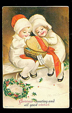 Ellen Clapsaddle Christmas Girl & Boy 1907 Postcard