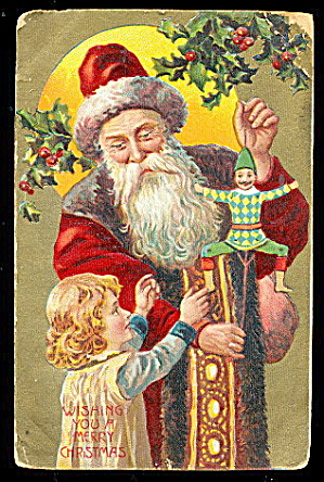 Brown Fur Santa Claus with Girl 1910 Postcard (Image1)