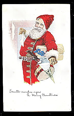 Santa Claus In Fur Hat 1915 Postcard