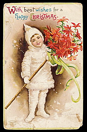 Ellen Clapsaddle Christmas Girl 1907 Postcard