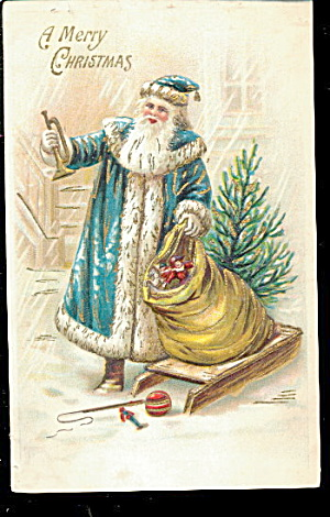 Blue Coat Santa Claus With Bag 1907 Postcard
