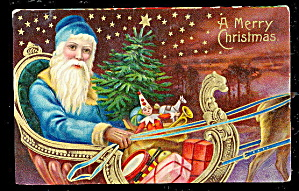 Santa Claus Blue Coat High Color 1910 Postcard