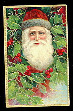 1907 Santa Claus In Fur Hat With Holly - Brilliant