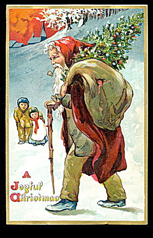 1907 Tucks Santa Claus Peering With Staff Postcard