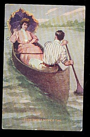 1907 'Sweet Summer Time' Couple Rowing Postcard (Image1)