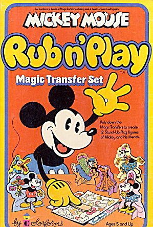 1978 Mickey Mouse Rub N'play Transfer Set
