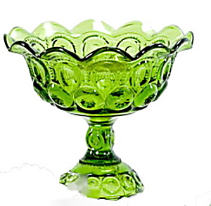 Vintage Green Footed Compote Dish