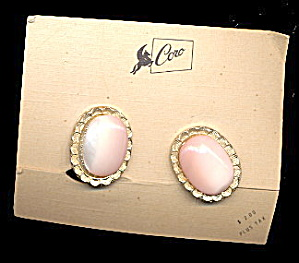 Great Vintage Coro Pink Glass Earrings on Card (Image1)