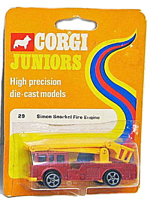 1973 Corgi Jr 29 Simon Snorkel Fire Engine Moc