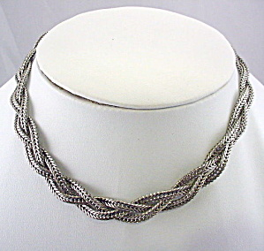 "1950s CORO 17"" Silver Tone Braided Necklace (Image1)"