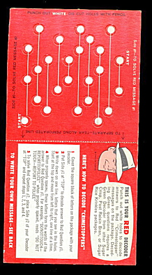 1957 Dick Tracy Post Cereal Decoder Card