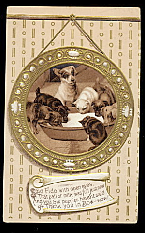 Dogs & Puppies Around Milk Bowl 1907 Postcard (Image1)