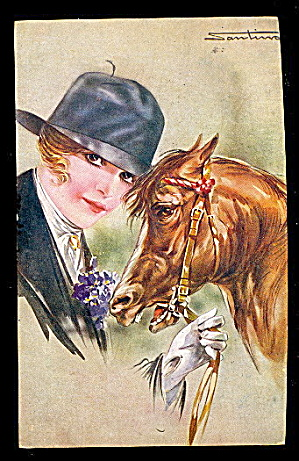 Santino Signed Horse With Woman 1907 Postcard