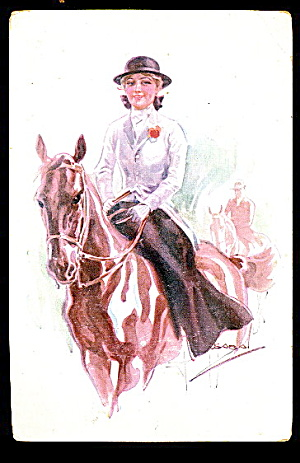 Luis Usabol Signed Horse With Woman 1907 Postcard