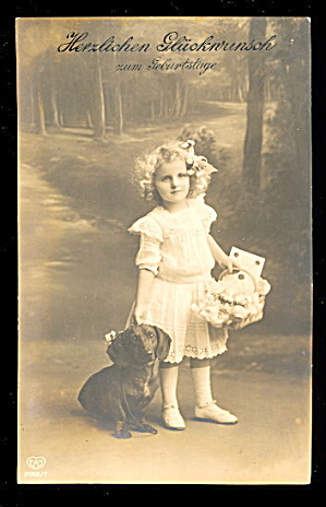 1906 Real Photo Girl With Dachshund Postcard