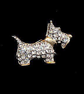 1940s Dog - Terrier Rhinestone Pin