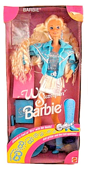 1993 Western Stampin Barbie Mint In Box - Blue