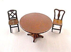 1920s Tootsietoy Dollhouse Brown Table & Chairs (Image1)