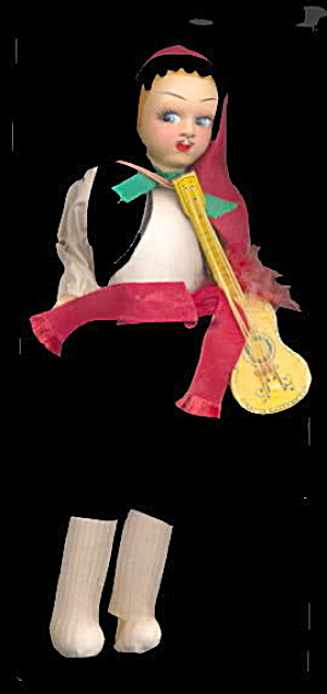 "1950s 9"" Greek Musician Souvenir Cloth Doll (Image1)"
