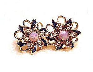Lovely Moonstone Vintage Pink Flower Earrings