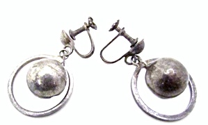 Vintage Sterling Ball In Hoop Post Earrings
