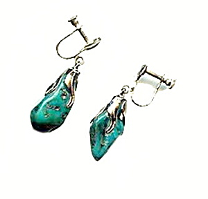 Lovely Turquoise Chunk With Sterling Dangle Earrings