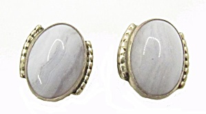 Vintage White Glass & Sterling Earrings