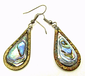 Vintage Abalone & Sterling Mexico Dangle Earrings