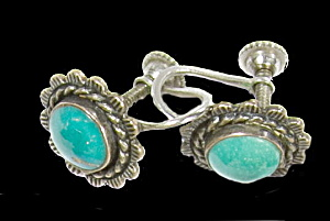 Vintage .925 Sterling Turquoise Stone Post Earrings