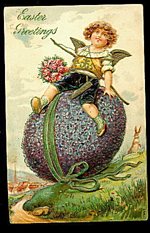 Easter Boy Riding The Easter Egg 1907 Postcard