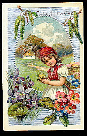 Pfb Germany Easter Girl With Flowers 1909 Postcard