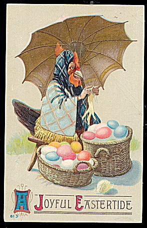 Easter Greetings With Dressed Rooster 1910 Postcard