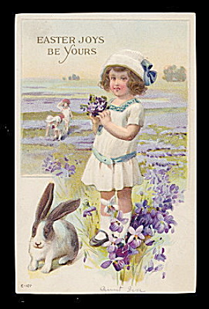 Lovely Easter Girl with Rabbit 1907 Postcard (Image1)