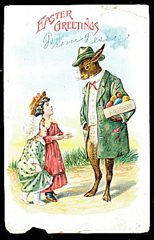 Dressed Rabbit With Eggs Meets Children 1907 Postcard