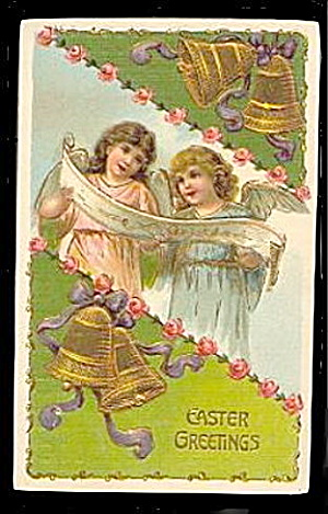 Lovely Easter Greetings Girl Angels 1909 Postcard (Image1)