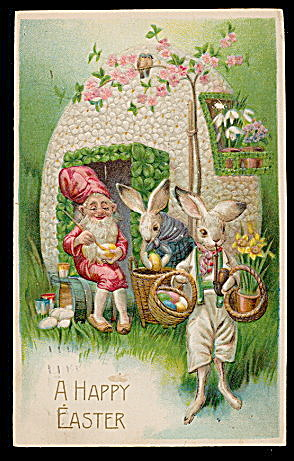 Easter Bunnies With Egg Fort 1908 Postcard