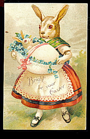 Rabbit W Egg In Apron Easter1908 Postcard