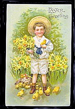 Lovely Boy in Sailors Suit Easter 1909 Postcard (Image1)