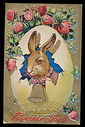 Great Rabbit in Egg Easter Joys 1907 Postcard (Image1)
