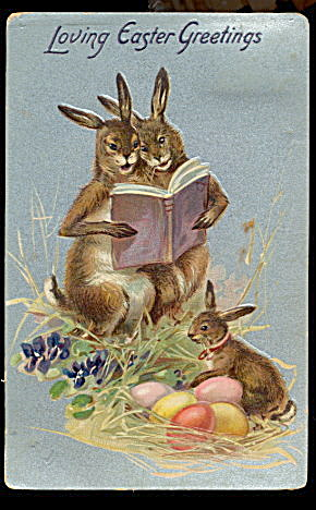 1909 Tucks Series 112  Easter Rabbits Postcard (Image1)
